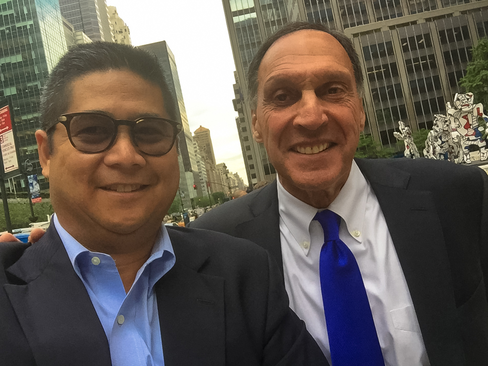 Alex Cena and Dick Fuld formerly with Lehman Brothers share a selfie on the corner of Park Avenue and 52nd Street in Midtown Manhattan. New York NY